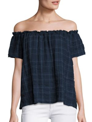 Gina Plaid Off-The-Shoulder Top by Generation Love
