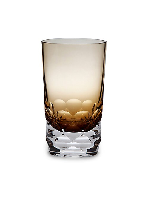 """Image of Retro-inspired highball glasses with faceted base. Set of two.6""""H.Glass. Dishwasher safe. Imported."""