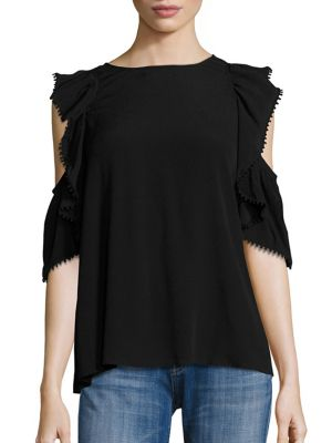 Monsoon Cold-Shoulder Ruffle Top by Rebecca Minkoff