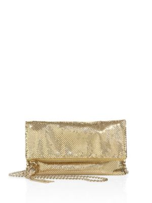 Mesh Foldover Crossbody Clutch - Metallic in Gold