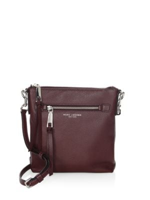 Small Recruit Nomad Pebbled Leather Crossbody Bag - Purple in Blackberry