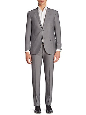 Image of Enhanced with neat vertical stripes, this wool suit features a single-breasted jacket and a pair of straight-leg pants. Wool. Dry clean. Made in Italy. JACKET: Notched lapels Front two-button closure Long sleeves with buttoned cuffs Chest welt pocket Wais