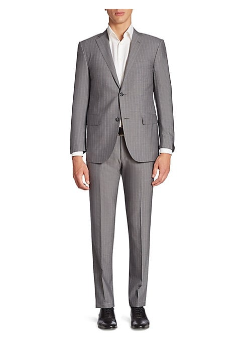 Image of Enhanced with neat vertical stripes, this wool suit features a single-breasted jacket and a pair of straight-leg pants. Wool. Dry clean. Made in Italy. JACKET:.Notched lapels. Front two-button closure. Long sleeves with buttoned cuffs. Chest welt pocket.