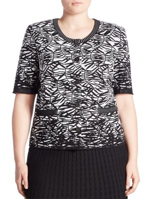 Plus Thin Leaves Print Top by Stizzoli, Plus Size