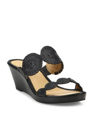 Shelby Whipstitch Leather Wedge Sandals, Black