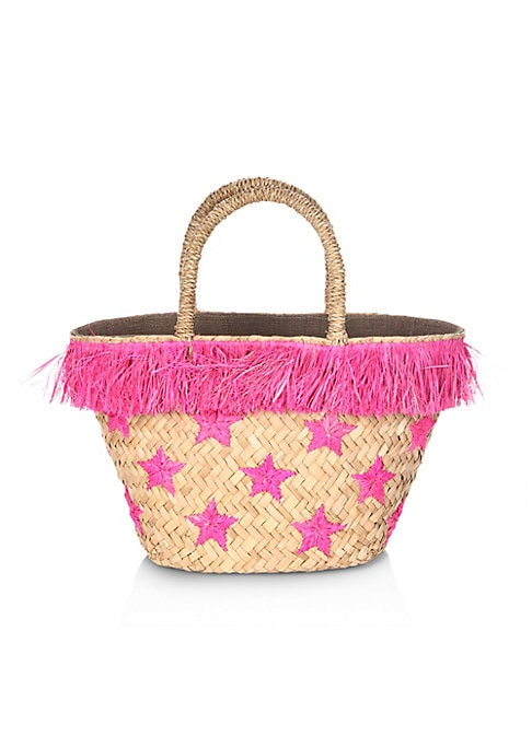 "Image of Wavy fringes sway in a star-accented straw tote. Double top handles. Open top.14"" W X 8"" H X 6""D.Straw. Imported."