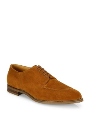 Image of Classic derby shoe in soft suede. Suede upper. Split toe. Lace-up closure. Leather sole. Made in England.
