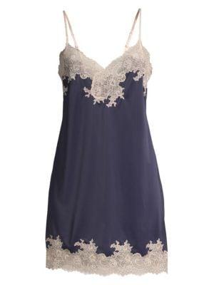 NATORI SLEEPWEAR Enchant Floral Lace Chemise in Navy