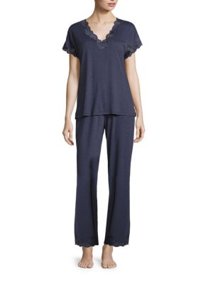 Zen Floral Pajama Set, Night Blue