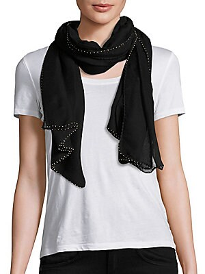"""Image of Gauzy modal square scarf with crochet silk border 66""""W X 66""""L Modal Trim: Silk Dry clean Imported. Soft Accessorie - Day And Evening Wraps > Saks Fifth Avenue. Bajra. Color: Black."""