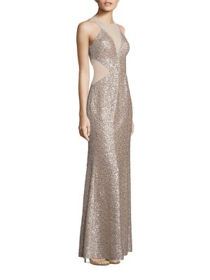 "Image of Shimmering sequin gown with illusion mesh panels. Illusion neckline. Sleeveless. Concealed back zip. Side panels. Lined. About 59"" from shoulder to hem. Polyester. Dry clean. Imported. Model shown is 5'10"" (177cm) wearing US size 4."