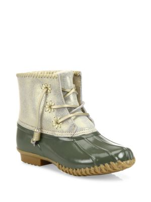 2e1195f1635 Jack Rogers Chloe Classic Whipstitch Metallic Leather   Rubber Boots In  Olive Rubber