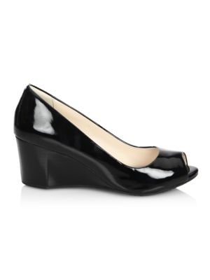 Sadie Patent Leather Peep Toe Wedge Pumps in Black
