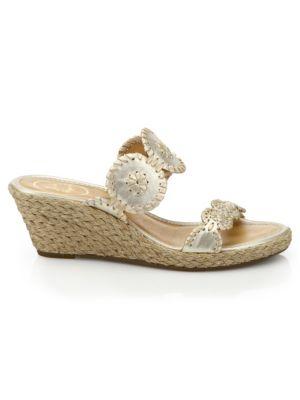 Shelby Espadrille Wedge Slide Sandals, Platinum