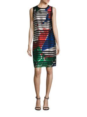 Danyna Floral Silk Blend Striped Sheath Dress by BOSS