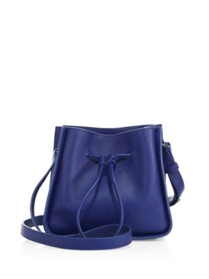 3.1 PHILLIP LIM SOLEIL MINI LEATHER DRAWSTRING BUCKET BAG, COBALT