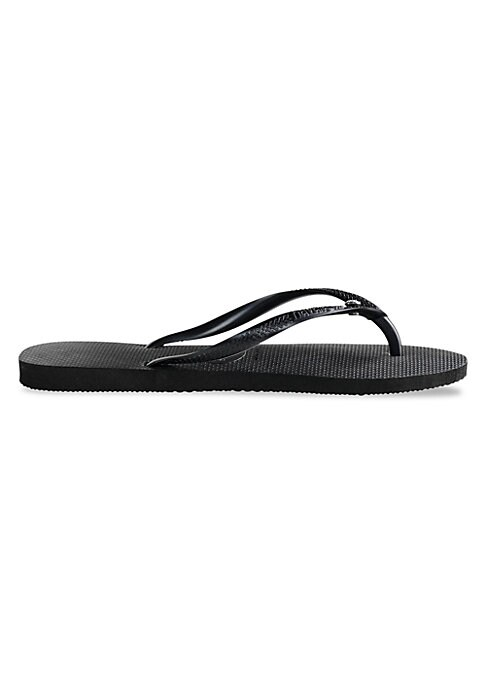 Image of Add a dose of glitz and glamour to your footwear collection with these sparkling Havaianas flip-flops. A slim metallic top strap features a dazzling Swarovski Elements pin for an eye-catching flair; the signature textured footbed and a tonal Havaianas log