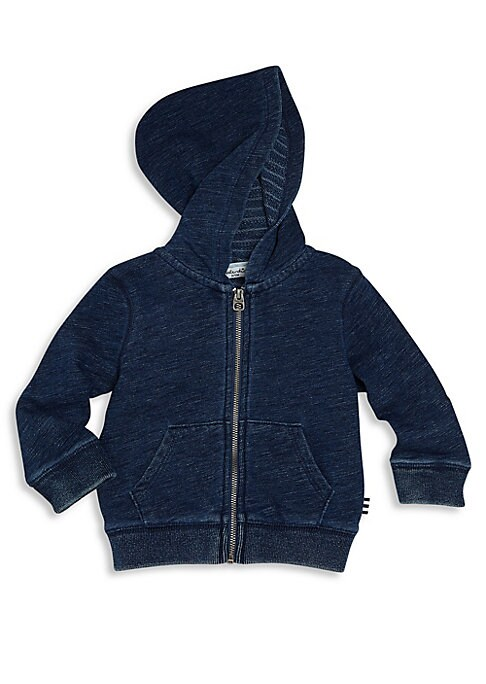 Image of Ultra-cozy zip hoodie cast in yarn-dyed wash. Attached hood. Long sleeves. Ribbed cuffs and hem. Zip front. Split kangaroo pockets. Cotton/polyester. Machine wash. Imported.