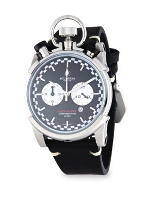 CT SCUDERIA Corsa Café Racer Stainless Steel & Leather Strap Watch in Black