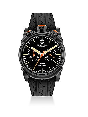 "Image of ONLY AT SAKS.COM From the Red Zone Collection Tire-tread textured strap on a racing-inspired watch Swiss quartz movement Case is water resistant to 10 ATM Round ion-plated stainless steel case, 44mm (about 2"") Polished bezel Sapphire crystal Screw down lo"