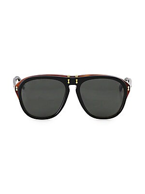 Image of Dapper tortoise details uplift timeless flip-up pair 56mm lens width; 17mm bridge width; 145mm temple length 100% UV protection Acetate Made in Italy. Men Accessories - Men Sunglasses. Gucci. Color: Black.