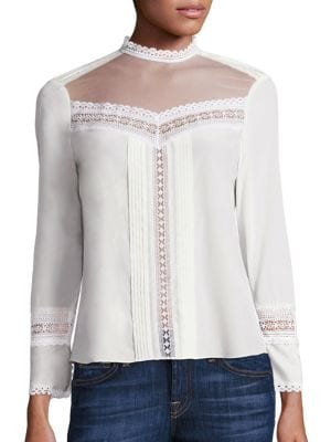 Sheer Yoke Silk & Lace Top by Rebecca Taylor