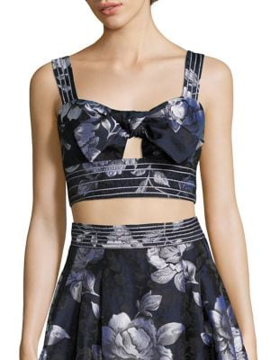 Tie-Front Cropped Bustier Top by ABS