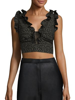 Dragonfly Ruffle Cropped Top by Rebecca Taylor
