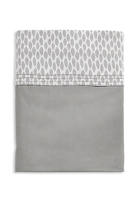 """Image of Soft cotton percale flat sheet with jacquard border. Queen: 95""""W x 118""""L.King: 106""""W x 118""""L.Cotton. Machine wash. Made in Italy."""