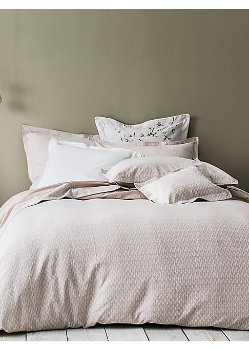 """Image of Jacquard duvet cover with cotton percale back. Queen: 88""""W x 96""""L.King: 106""""W x 96""""L.Cotton. Machine wash. Made in Italy."""
