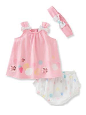 Babys ThreePiece Dress Diaper and Headband Set