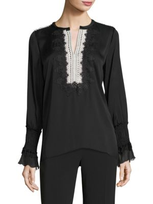 Naya Lace Silk Blend Blouse by KOBI HALPERIN