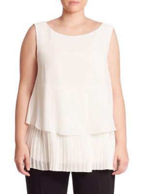 Bijou Layered Pleated Blouse by Marina Rinaldi, Plus Size