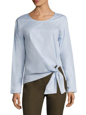 Serah Stretch-Cotton Tie-Front Top by Theory