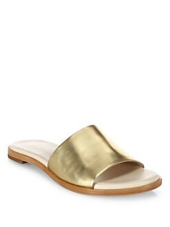 cbc58e3990f Cole Haan Anica Metallic Leather Slide Sandals