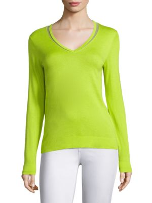 COLLECTION V-Neck Mesh Silk Top by Saks Fifth Avenue