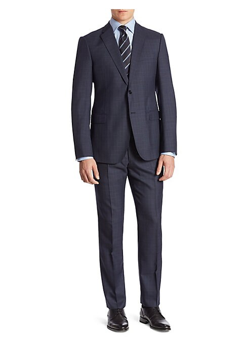 """Image of Tailored wool suit with subtle windowpane pattern. Wool. Dry clean. Made in Italy. Jacket. Notch lapel. Button front. Chest welt pocket. Waist flap pockets. Long sleeves. Buttoned cuffs. Lined. About 30"""" from shoulder to hem. Pants. Flat-front style. Zip"""