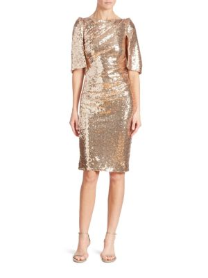 """Image of Glamorous sequin embellished dress in a cape design. Boatneck. Cape sleeves. Concealed back zip. Lined. About 36"""" from shoulder to hem. Nylon/acetate/polyamide. Imported. Model shown is 5'10"""" (177cm) wearing US size 4."""