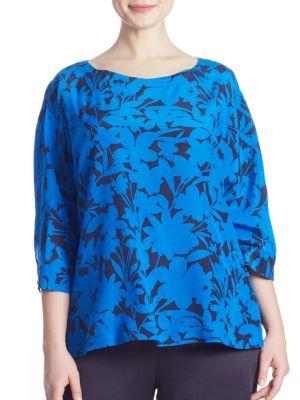 Bantu Floral Silk Top by Marina Rinaldi, Plus Size