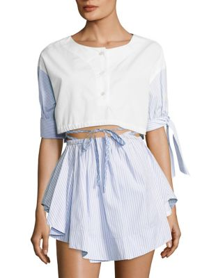 Cropped Button Front Crop Top by Alexander Wang