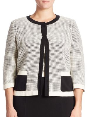 Two-Tone Cropped Cardigan by Stizzoli, Plus Size