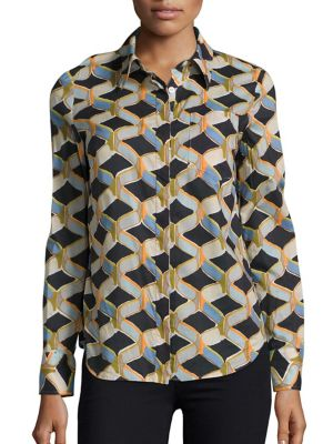 Chain Printed Button-Down Shirt by MILLY