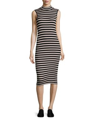 Striped Rib-Knit Dress