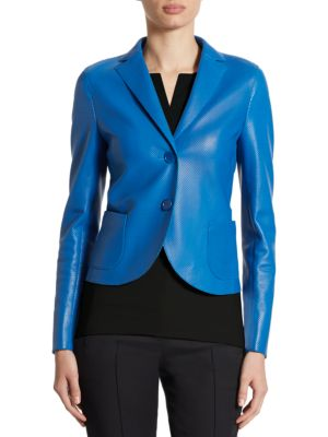 "Image of Button front jacket in smooth perforated leather. Notched lapel. Long sleeves. Front patch pockets. Button front. About 25"" from shoulder to hem. Leather. Dry clean. Imported. Model shown is 5'10"" (177cm) wearing US size 4."