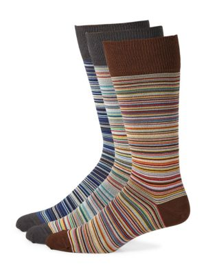 Image of Colorful stripes elevate this knitted socks set. Set of three. Ribbed cuffs. Cotton/nylon/spandex. Machine wash. Made in UK.