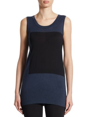 Wool Colorblock Knit Tank Top by Akris punto