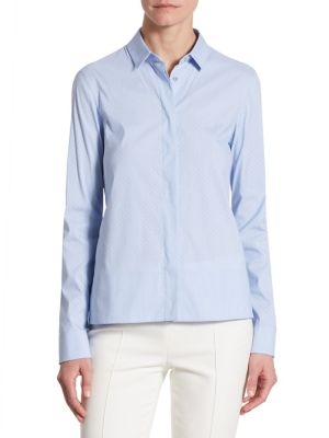 Perforated Cotton Button-Down Blouse by Akris punto
