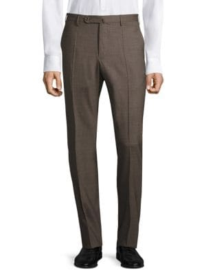 """Image of Regular-fit trousers made from plush cotton fabric. Belt loops. Zip fly with button tab closure. Slash pockets. Back buttoned welt pockets. Inseam, about 32"""".Cotton. Dry clean. Imported."""