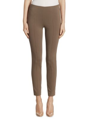 """Image of Polished techno-cotton pant with crisp center seams. Concealed side zip. Rise, about 10"""".Inseam, about 33"""".Cotton/nylon/elastane. Dry clean. Imported. Model shown is 5'10"""" (177cm) and wearing US size 4."""