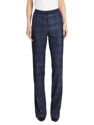 "Image of .Straight silk-blend pant tailored in menswear-inspired plaid. Banded waist. Zip fly with button closure. Concealed side zip pockets. Rise, about 10"".Inseam, about 33"".Silk/cotton. Dry clean. Imported. Model shown is 5'10"" (177cm) wearing US size 4."